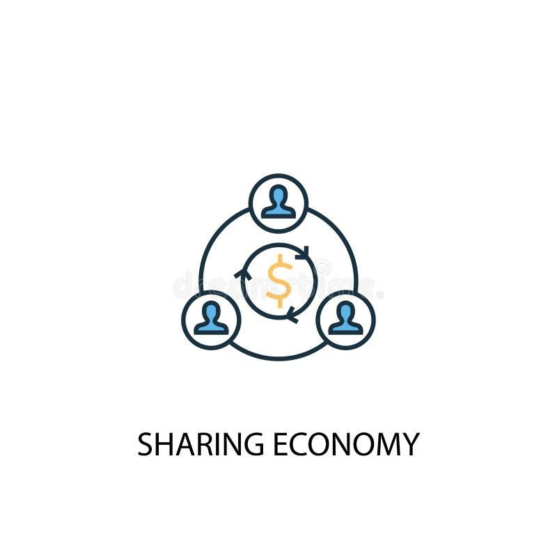 Gedeelte economie concept 2 gekleurde lijn vector illustratie