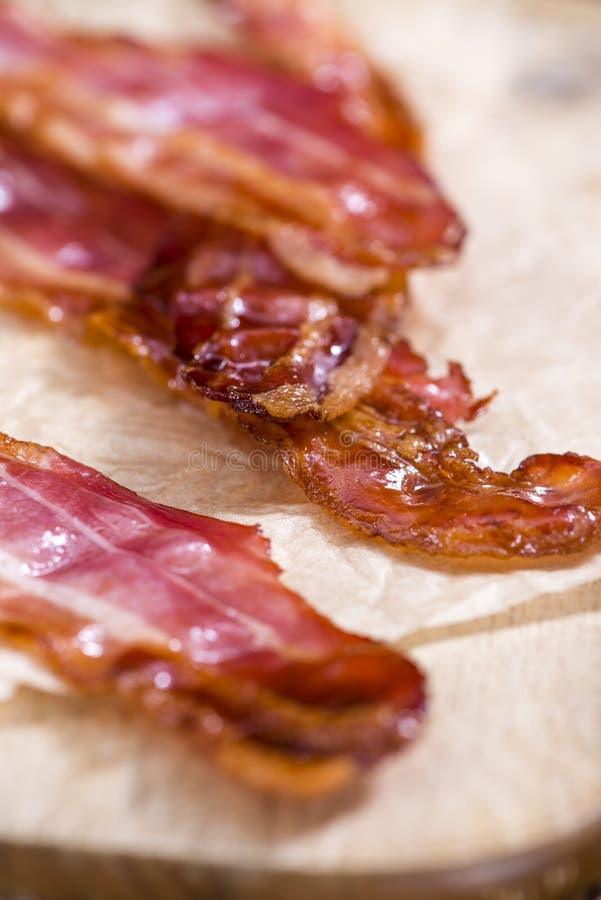 Gedeelte van Fried Bacon stock foto's
