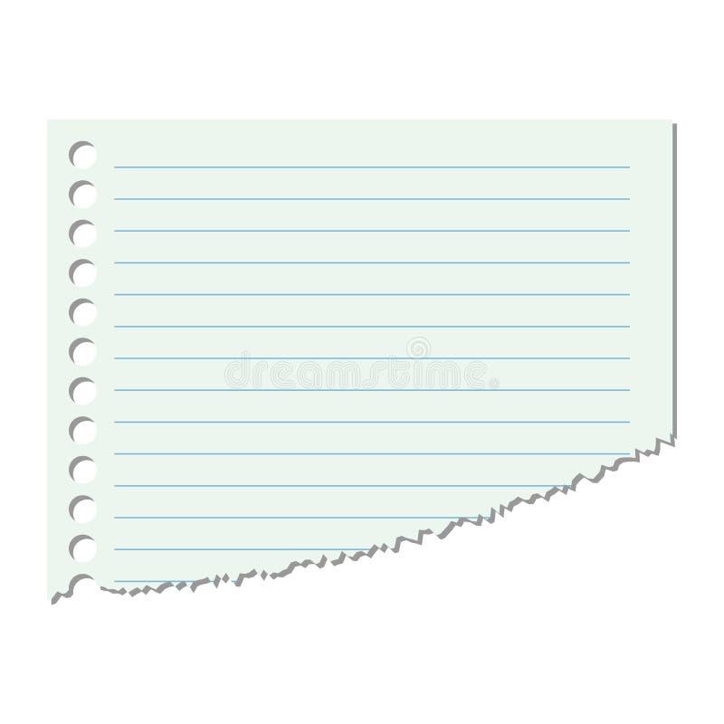 Gedeelte van het blad van document in een lijn op een geïsoleerde witte achtergrond Vector illustratie stock illustratie