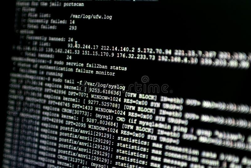 Gedeelte van systeemlogboek van een Webserver, tijdens cyberaanval FI stock foto