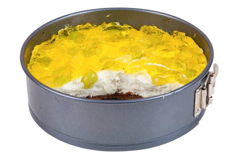 Gedeeltelijk gegeten kaastaart met gelei stock fotografie