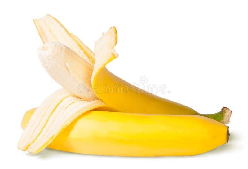 Gedeeltelijk Gepelde Bananen royalty-vrije stock afbeeldingen