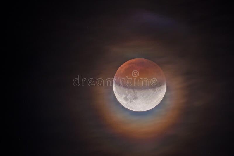 Gedeeltelijke Maanverduistering 2019 stock foto