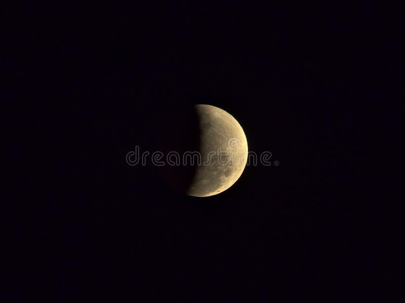 Gedeeltelijke maanverduistering van 16 Juli, 2019 royalty-vrije stock fotografie