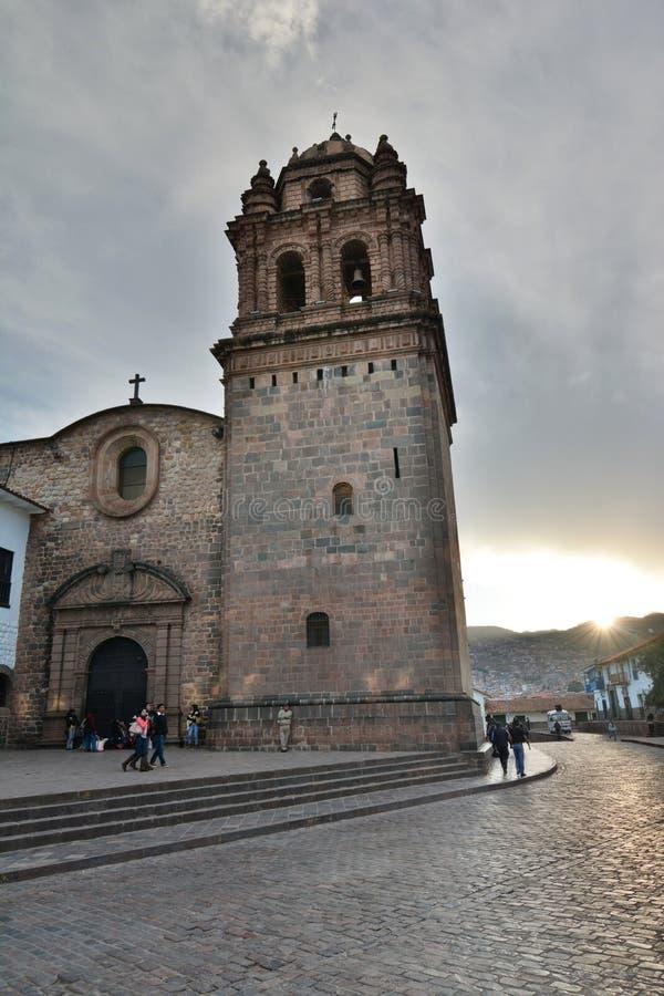 Gedeeltelijke mening van de Kerk van Santo Domingo Cusco peru stock foto