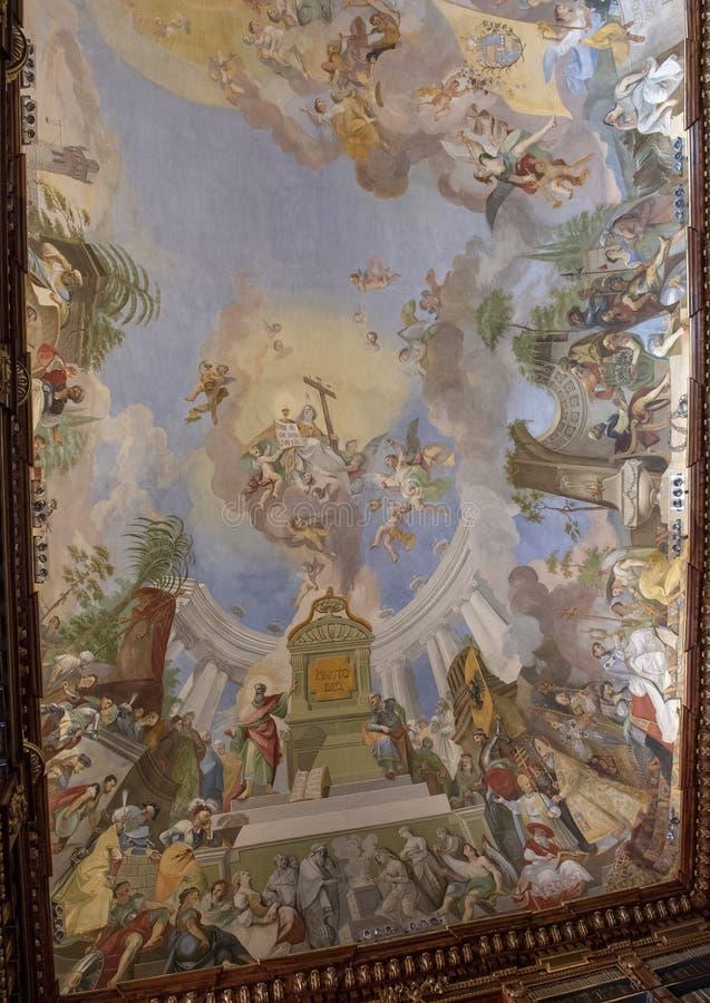 Gedeeltelijke mening van plafondfresko, Filosofische Zaal, Strahov-Kloosterbibliotheek, Praque stock foto