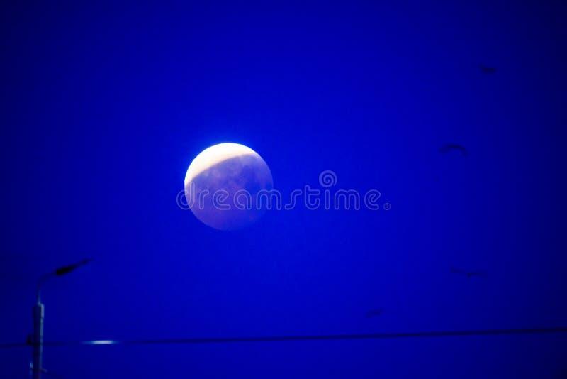 Gedeeltelijke verduistering van maan na volledige verduistering van maan royalty-vrije stock foto