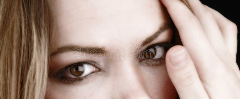 Gedeeltelijke vrouw gezicht-1 stock afbeeldingen
