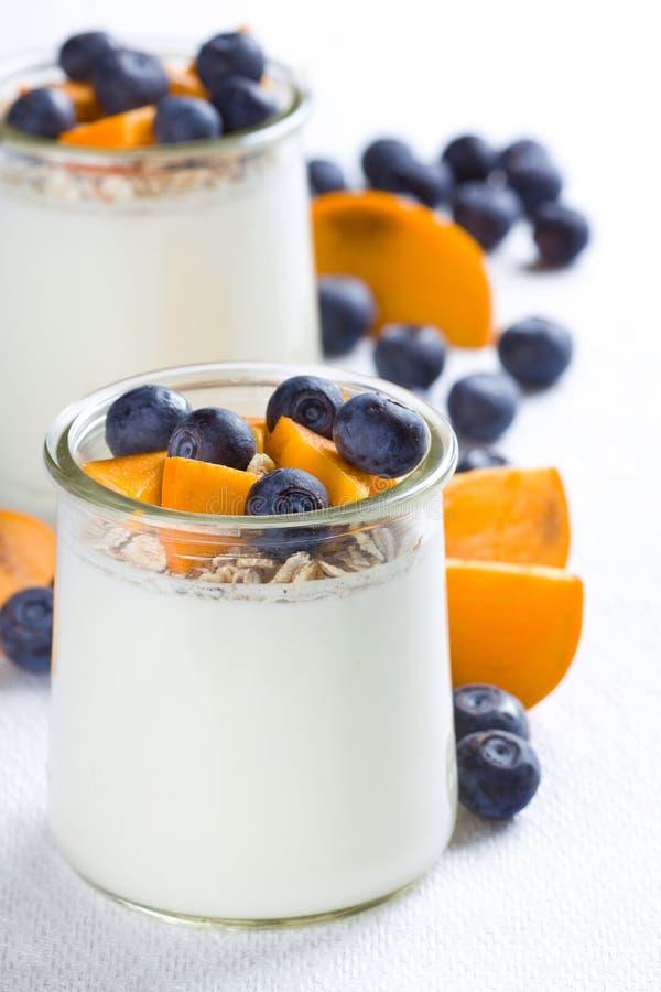 Gedeelten van yoghurt stock afbeelding