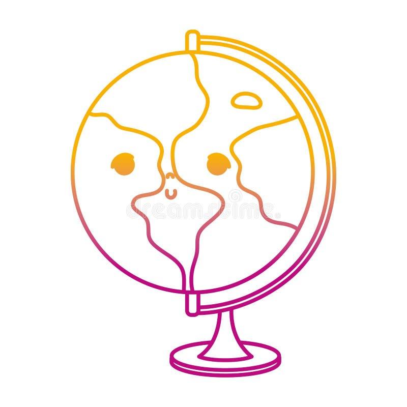 Gedegradeerd aardig globaal de planeetbureau van lijnkawaii vector illustratie