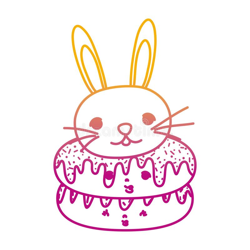Gedegradeerde leuke donuts van lijnkawaii en mannelijk konijn royalty-vrije illustratie