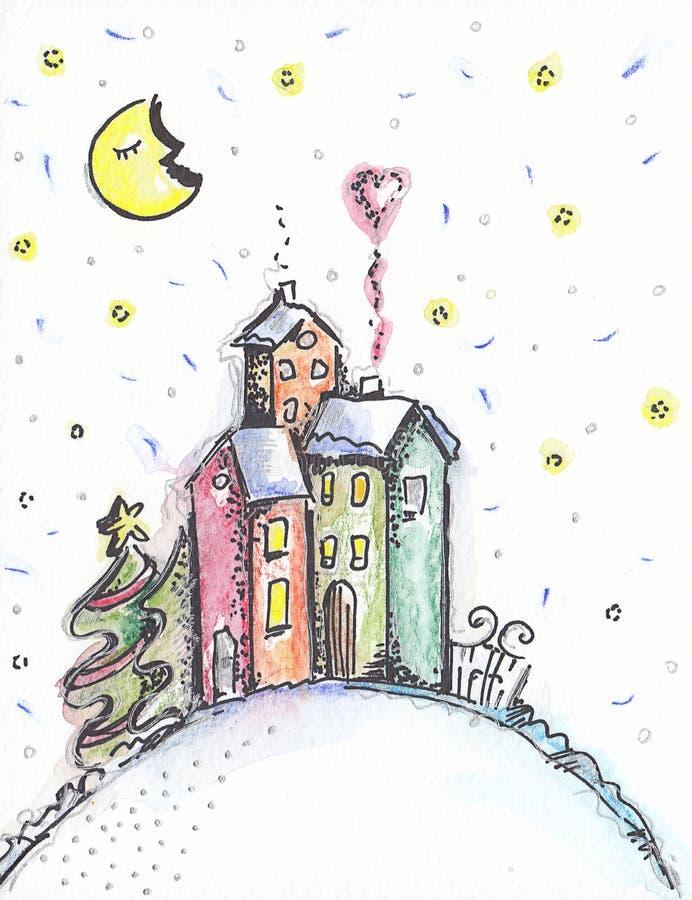 Gedekte kaart 'Fairy Home' stock illustratie