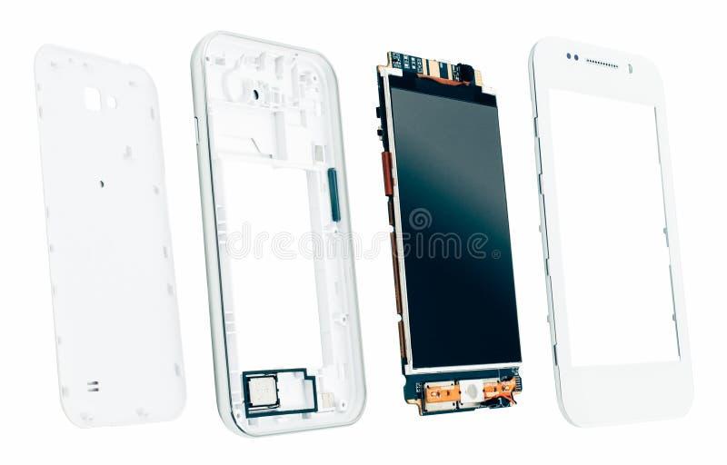 Gedemonteerde smartphoneelektronika productie royalty-vrije stock afbeelding