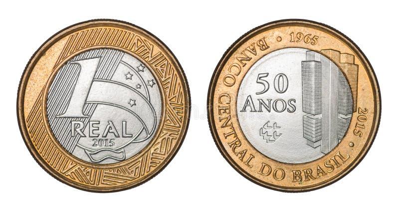 Gedenk-` eins wirkliches ` brasilianisches Münze Zentralbank ` fünfzig Jahre 1965 ` lizenzfreies stockfoto