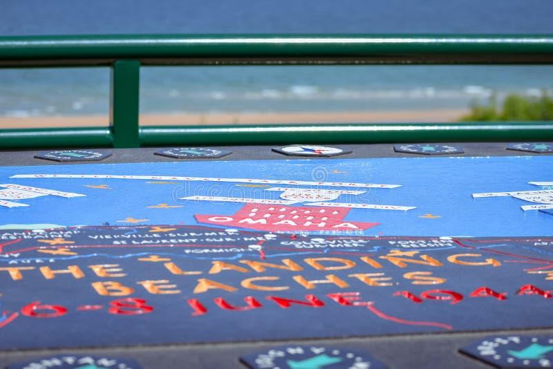 Gedenk- und erläuternde Karte des Kampfes der Normandie-Landungen im zweiten Weltkrieg Omaha Beach, französische Normandie stockbild