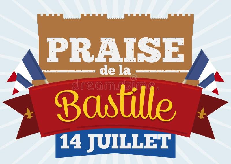Gedenkdesign für die stürmende Bastille mit französischen Wimpeln, Vektor-Illustration stock abbildung
