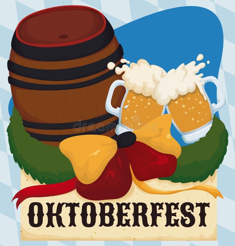 Gedenkdesign für Oktoberfest mit Fass und Toast, Vektor-Illustration lizenzfreie abbildung
