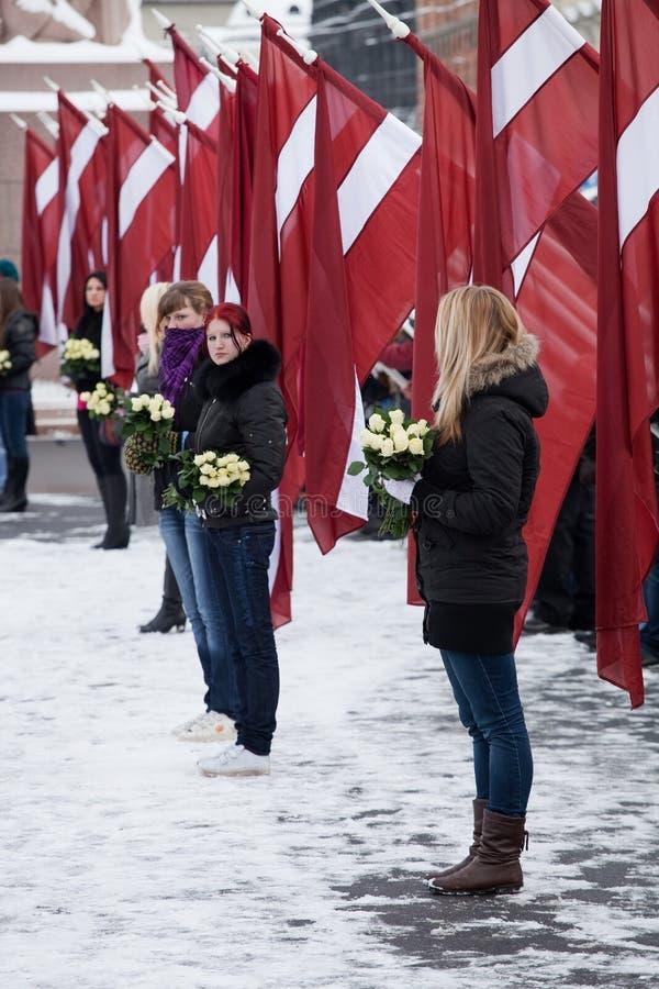 Gedenken der lettischen Waffen SS Maßeinheit oder des Fahrwerkbeines stockbild