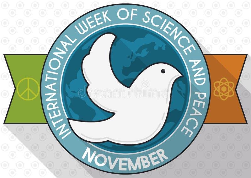 Gedenkmedaille mit Taube für Woche der Wissenschaft und des Friedens, Vektor-Illustration stock abbildung