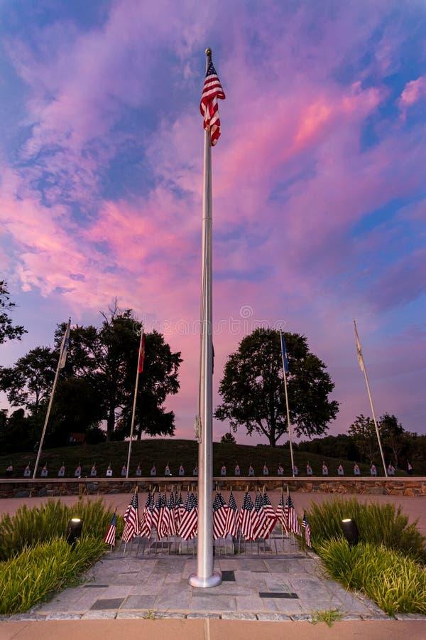 Gedenkstätte des Dogwood Vietnam-Krieges in Sunset stockfotografie
