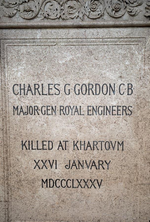 Gedenktafel von Major General Charles George Gordon, der eine Armee in der britischen Armee war, im Januar 2018 lizenzfreie stockfotos