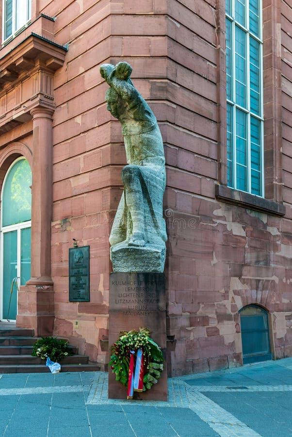 Gedenkteken aan de slachtoffers van Frankfurt van Nazisme bij St Paul Kerk stock afbeeldingen