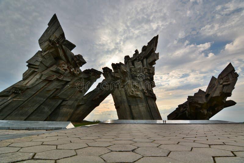 Gedenkteken aan de slachtoffers van Nazisme Negende Fort kaunas litouwen stock afbeeldingen