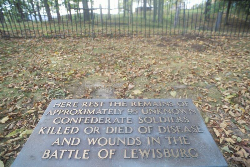 Gedenkteken aan onbekende Verbonden militairen, Lewisburg, het Westen VA royalty-vrije stock foto's
