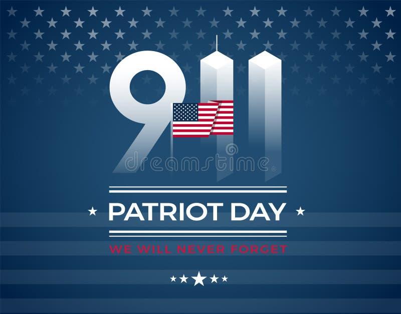 9/11 Gedenkteken, de kaart van de Patriotdag met de Amerikaanse vlag Wij zullen stock illustratie