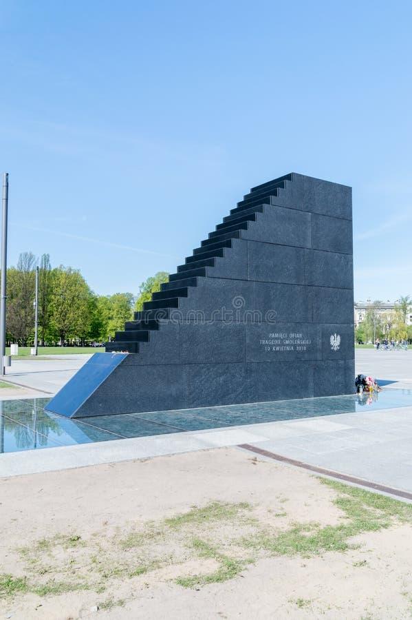 Gedenkteken gewijd aan de slachtoffers van de luchtneerstorting van Smolensk van 2010 stock foto