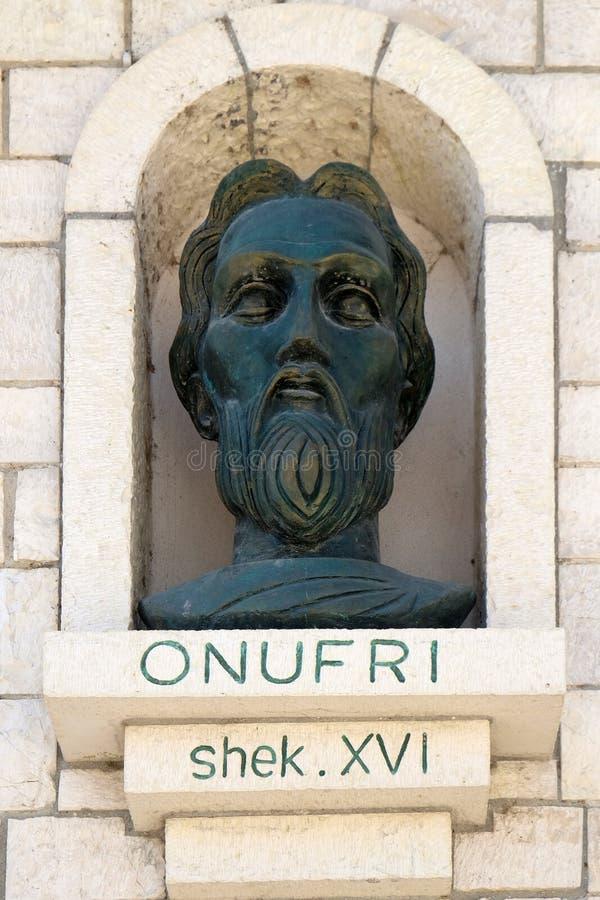Gedenkteken van Onufri of Onouphrios van Neokastro in Berat, Albanië stock afbeelding