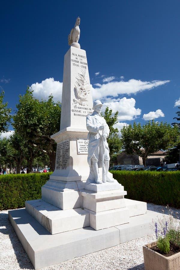 Gedenkteken voor Franse Militairen in Quissac stock foto's