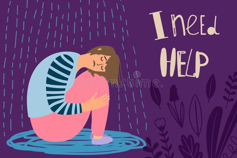 Gedeprimeerd meisje, gefrustreerde vrouwen vectorillustratie onder regen royalty-vrije illustratie