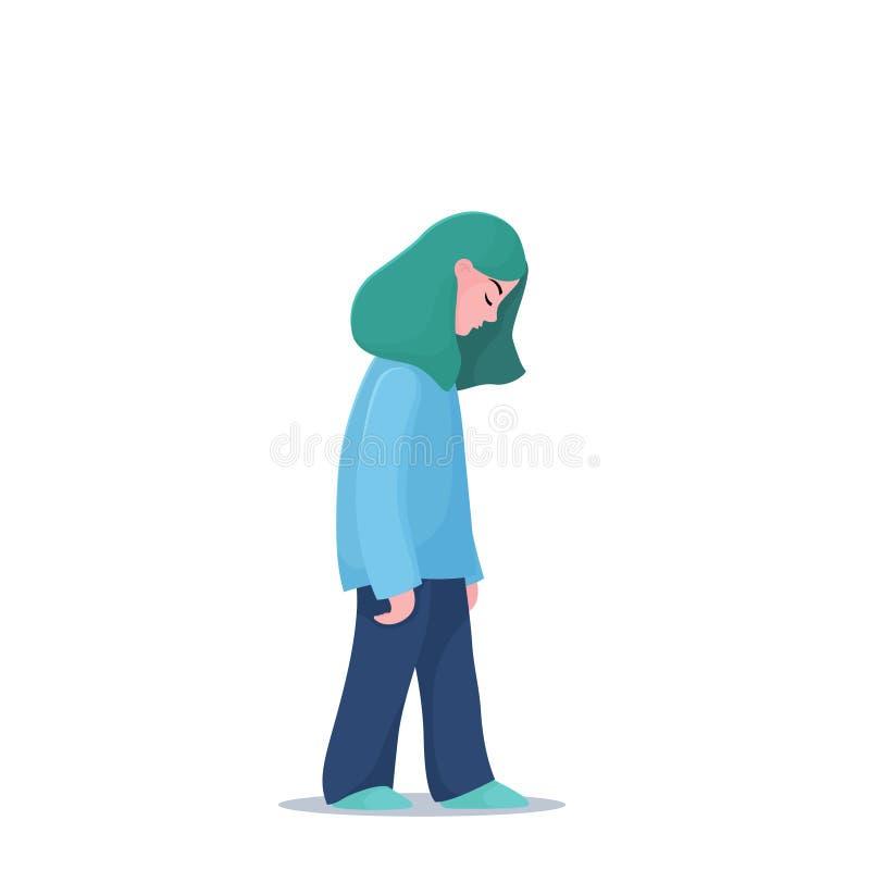 Gedeprimeerd, ongelukkig meisje, vrouw die langzaam lopen stock illustratie
