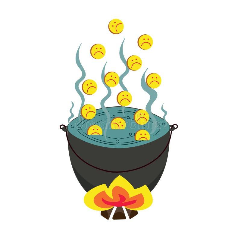 Gedeprimeerde en droevige emoticon Droevige emoticons in hel vector illustratie