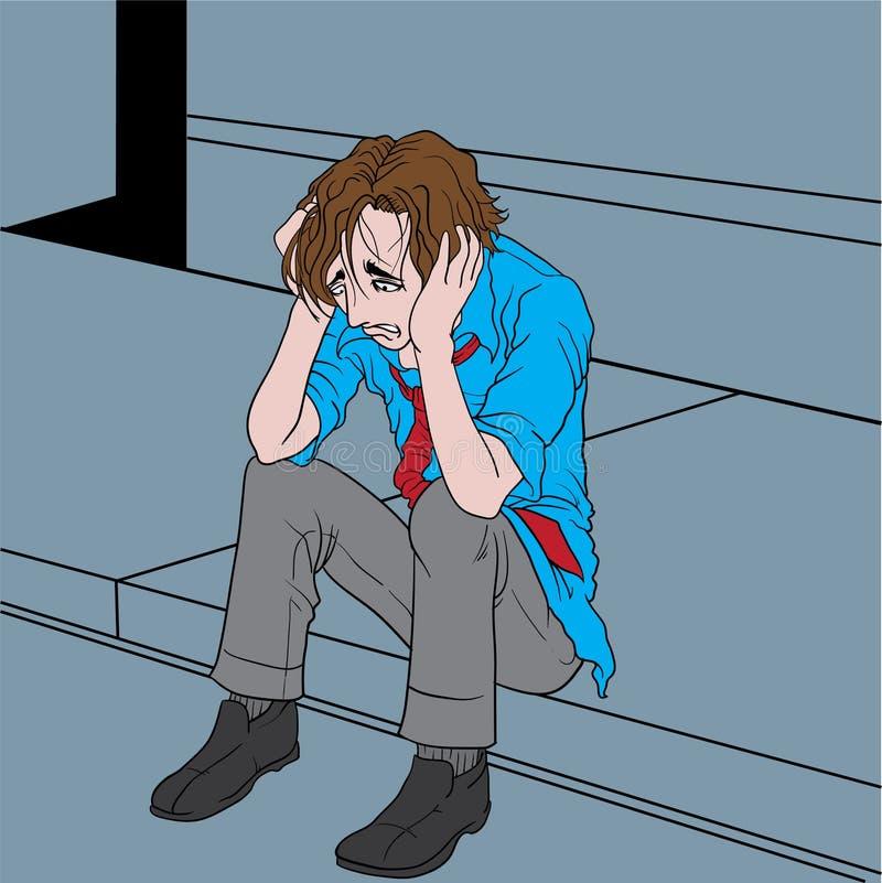 Gedeprimeerde mens stock illustratie