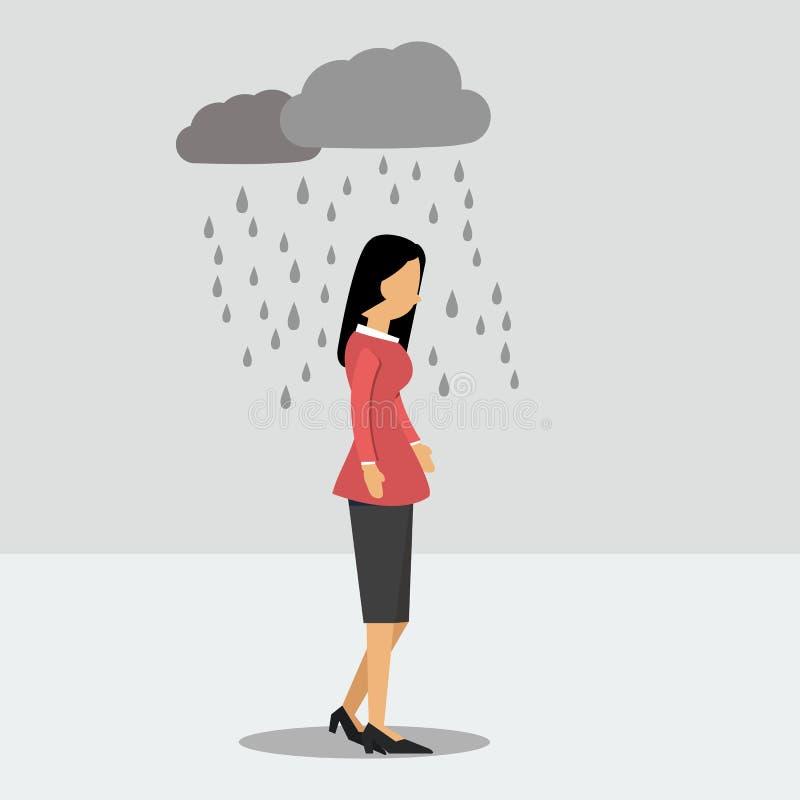 Gedeprimeerde vrouw onder de regen royalty-vrije illustratie