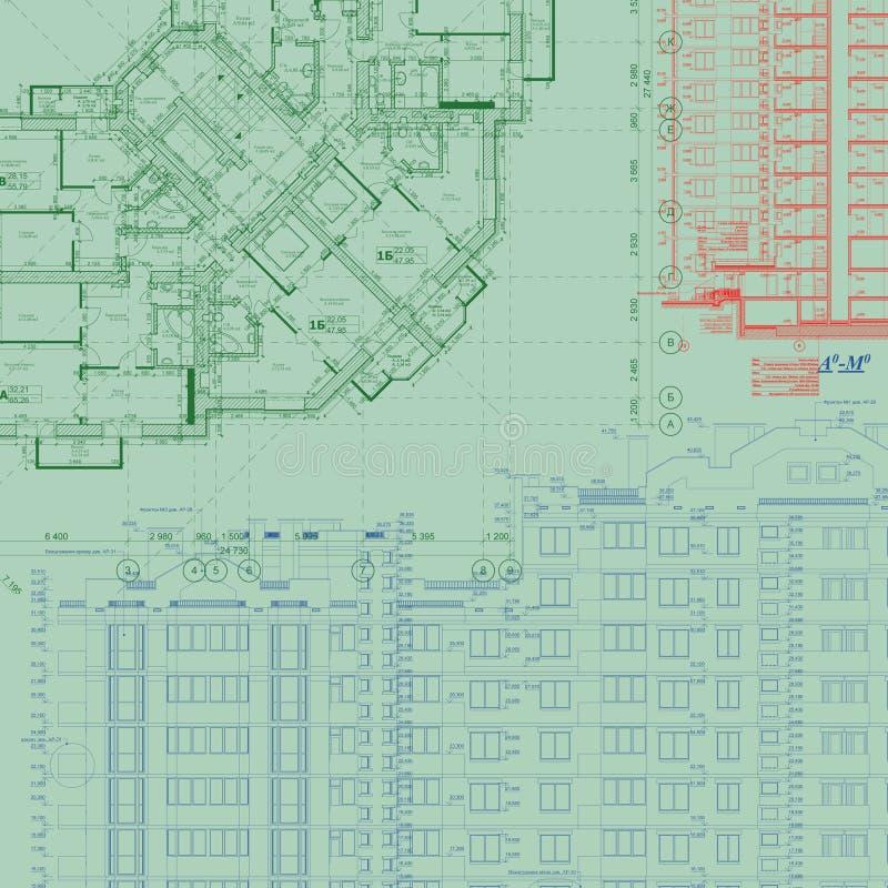 Gedetailleerd architecturaal plan royalty-vrije illustratie