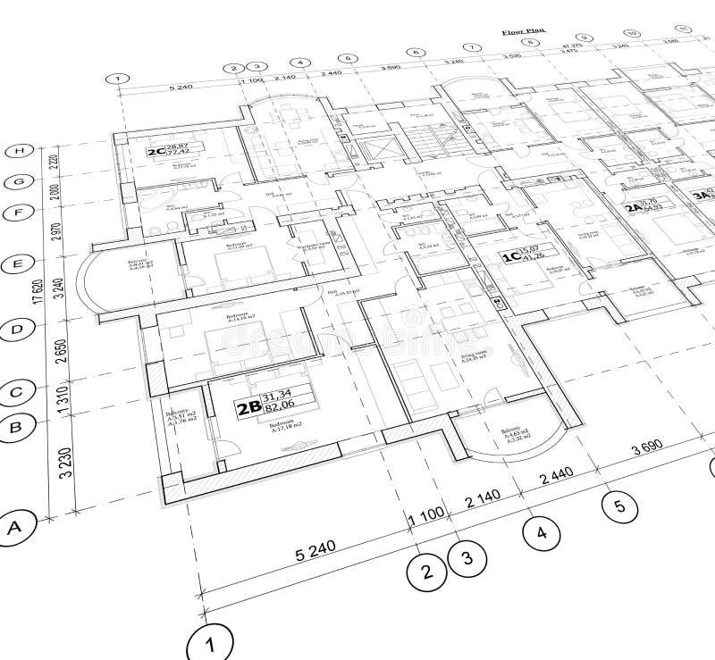 Gedetailleerd architecturaal plan, perspectiefmening royalty-vrije stock afbeelding