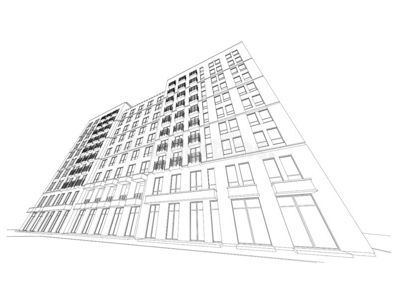 Gedetailleerd architecturaal plan van de bouw met meerdere verdiepingen met verminderend perspectief Vector illustratie stock illustratie