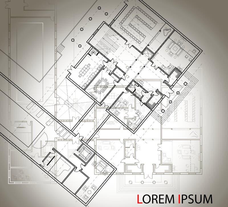 Gedetailleerd architecturaal plan van het grote huis met een andere regeling op de achtergrond Hoogste mening Zwart-witte geïsole royalty-vrije illustratie
