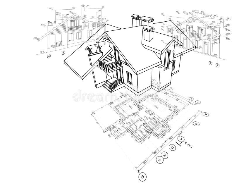 Gedetailleerd architecturaal plan, vloerplan, lay-out, perspectiefmening, 3d model stock illustratie