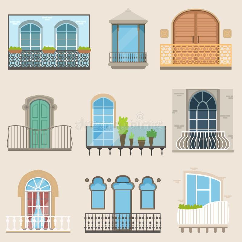 Gedetailleerd die balkon in verschillende stijlen wordt geplaatst Klassieke, moderne en decoratieve gesmede balkons Vlakke beeldv vector illustratie
