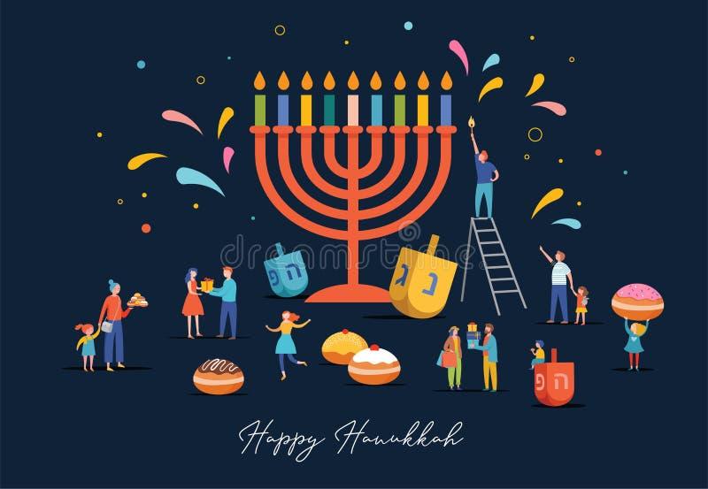 Gedetailleerd Happy Hanukkah Joods Festival van Lichten met voedsel, mensen en Menorah stock illustratie