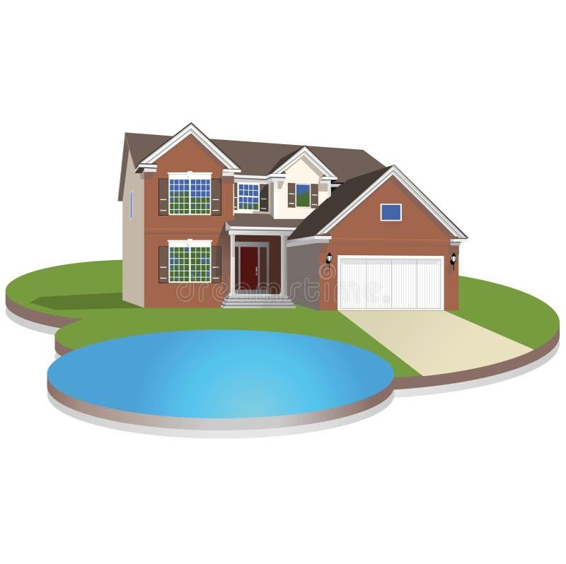 Gedetailleerd huis stock illustratie