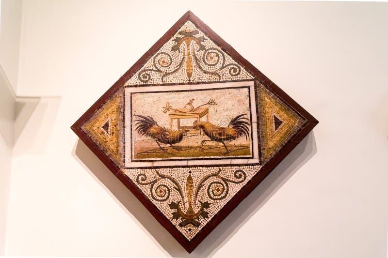 Gedetailleerd oud mozaïek van Pompei, die een hanengevecht tonen stock fotografie