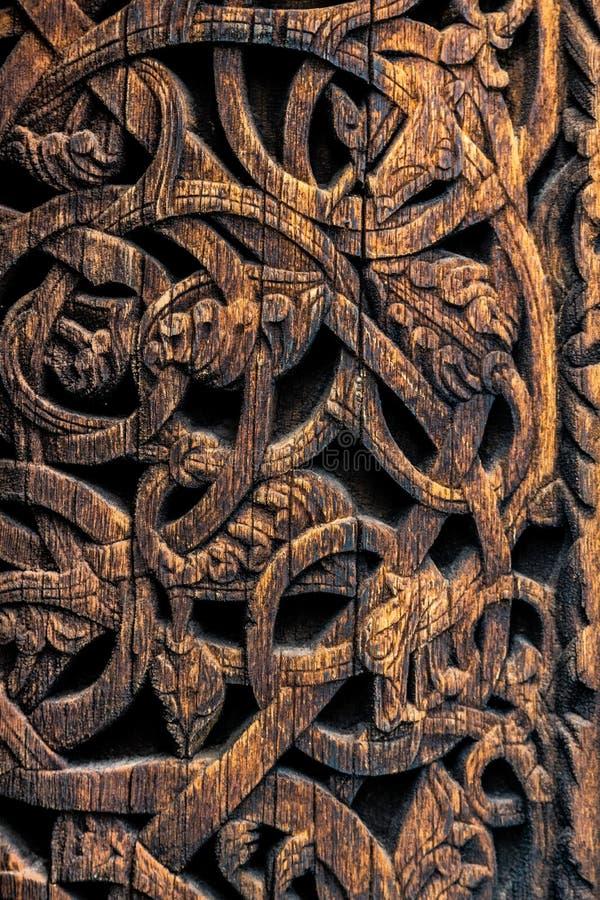Gedetailleerd patroon van oude Vikingen in Noorwegen stock afbeeldingen