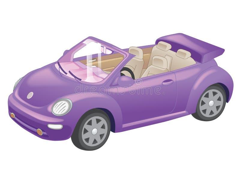 Gedetailleerd purper convertibel autobeeldverhaal dat op witte achtergrond wordt geïsoleerd Vector illustratie vector illustratie