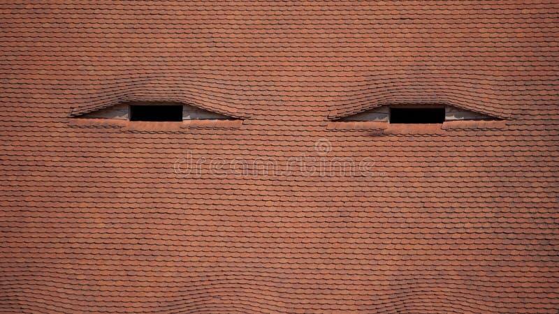 Gedetailleerd traditioneel dak, Sibiu, Roemenië royalty-vrije stock foto