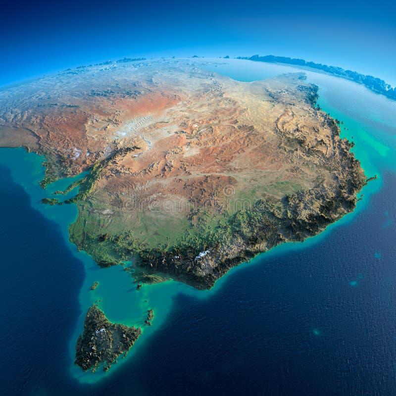 Gedetailleerde Aarde. Australië en Tasmanige